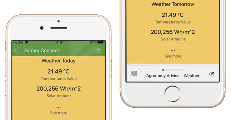 Farmer Connect mobile app screenshots on agronomy