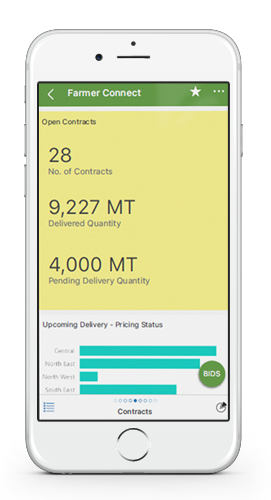 Farmer connect mobile app screenshot - contracts